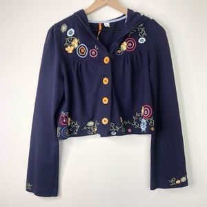 Anthropologie Embroidered Cropped Button Cardigan